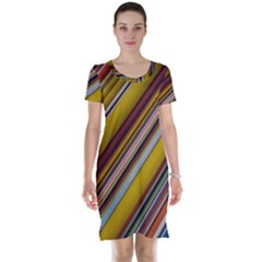 Colourful Lines Short Sleeve Nightdress