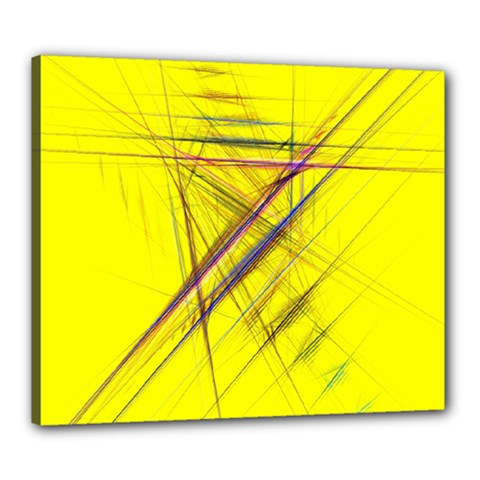 Fractal Color Parallel Lines On Gold Background Canvas 24  X 20