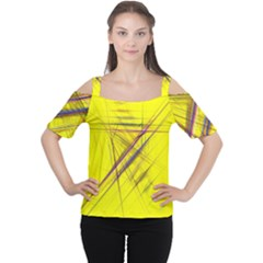 Fractal Color Parallel Lines On Gold Background Women s Cutout Shoulder Tee