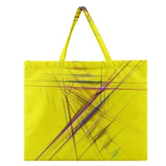 Fractal Color Parallel Lines On Gold Background Zipper Large Tote Bag by Nexatart