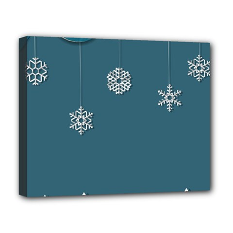 Blue Snowflakes Christmas Trees Deluxe Canvas 20  X 16   by Mariart