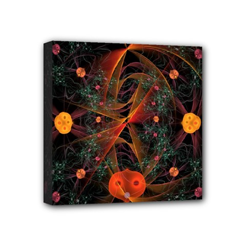 Fractal Wallpaper With Dancing Planets On Black Background Mini Canvas 4  X 4  by Nexatart