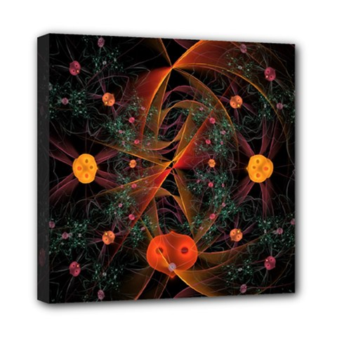 Fractal Wallpaper With Dancing Planets On Black Background Mini Canvas 8  X 8  by Nexatart