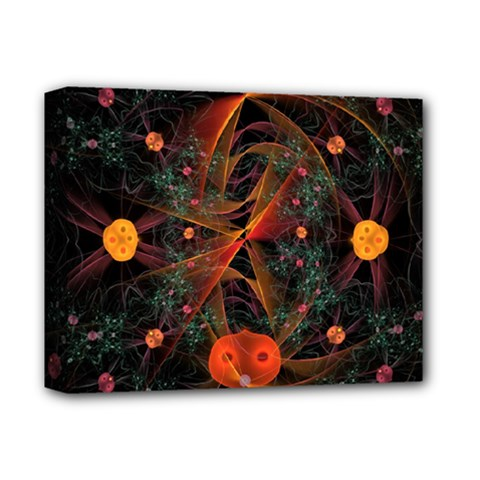 Fractal Wallpaper With Dancing Planets On Black Background Deluxe Canvas 14  X 11