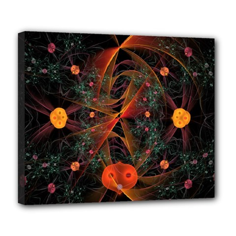 Fractal Wallpaper With Dancing Planets On Black Background Deluxe Canvas 24  X 20   by Nexatart