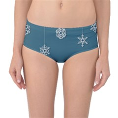 Blue Snowflakes Christmas Trees Mid Waist Bikini Bottoms by Mariart