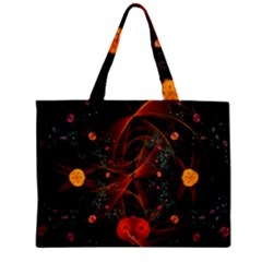 Fractal Wallpaper With Dancing Planets On Black Background Mini Tote Bag