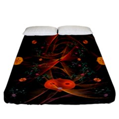 Fractal Wallpaper With Dancing Planets On Black Background Fitted Sheet (california King Size)
