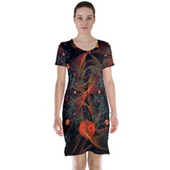 Fractal Wallpaper With Dancing Planets On Black Background Short Sleeve Nightdress by Nexatart