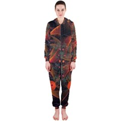 Fractal Wallpaper With Dancing Planets On Black Background Hooded Jumpsuit (ladies)