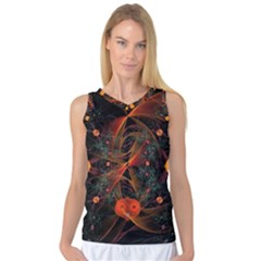 Fractal Wallpaper With Dancing Planets On Black Background Women s Basketball Tank Top