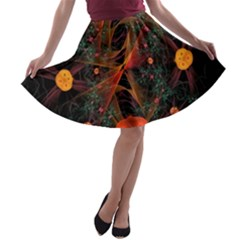 Fractal Wallpaper With Dancing Planets On Black Background A Line Skater Skirt