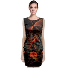 Fractal Wallpaper With Dancing Planets On Black Background Classic Sleeveless Midi Dress by Nexatart