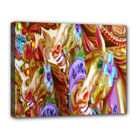 3 Carousel Ride Horses Canvas 14  X 11