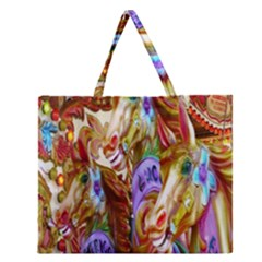 3 Carousel Ride Horses Zipper Large Tote Bag by Nexatart