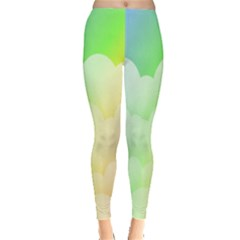 Cloud Blue Sky Rainbow Pink Yellow Green Red White Wave Leggings  by Mariart