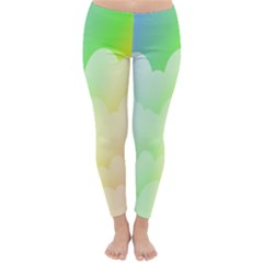 Cloud Blue Sky Rainbow Pink Yellow Green Red White Wave Classic Winter Leggings by Mariart