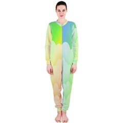 Cloud Blue Sky Rainbow Pink Yellow Green Red White Wave Onepiece Jumpsuit (ladies)  by Mariart