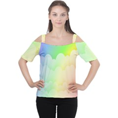 Cloud Blue Sky Rainbow Pink Yellow Green Red White Wave Women s Cutout Shoulder Tee by Mariart
