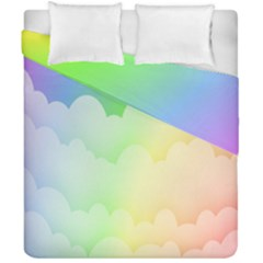 Cloud Blue Sky Rainbow Pink Yellow Green Red White Wave Duvet Cover Double Side (california King Size) by Mariart