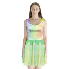Cloud Blue Sky Rainbow Pink Yellow Green Red White Wave Split Back Mini Dress
