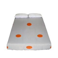 Diamond Polka Dot Grey Orange Circle Spot Fitted Sheet (full/ Double Size) by Mariart