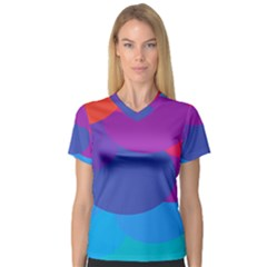 Circles Colorful Balloon Circle Purple Blue Red Orange Women s V Neck Sport Mesh Tee