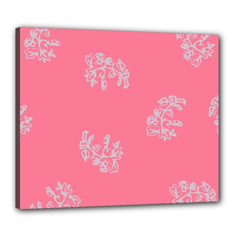 Branch Berries Seamless Red Grey Pink Canvas 24  X 20  by Mariart