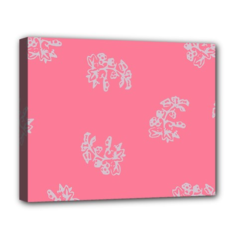 Branch Berries Seamless Red Grey Pink Deluxe Canvas 20  X 16   by Mariart