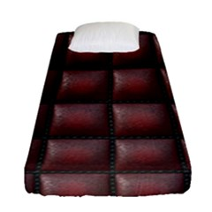 Red Cell Leather Retro Car Seat Textures Fitted Sheet (single Size)