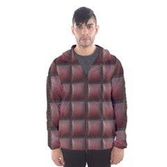Red Cell Leather Retro Car Seat Textures Hooded Wind Breaker (men)