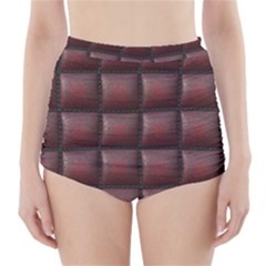 Red Cell Leather Retro Car Seat Textures High Waisted Bikini Bottoms by Nexatart
