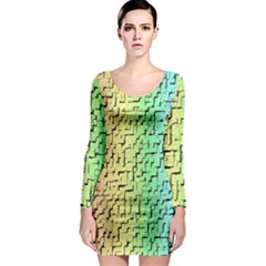 A Creative Colorful Background Long Sleeve Bodycon Dress