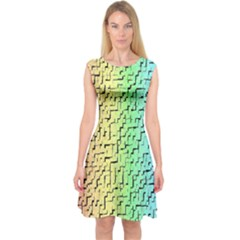 A Creative Colorful Background Capsleeve Midi Dress