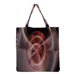 Fractal Fabric Ball Isolated On Black Background Grocery Tote Bag