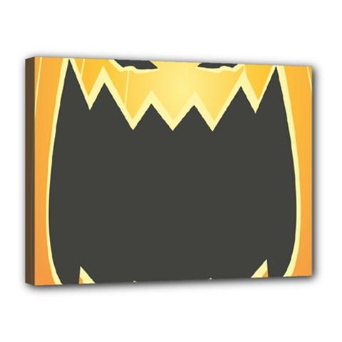 Halloween Pumpkin Orange Mask Face Sinister Eye Black Canvas 16  X 12  by Mariart