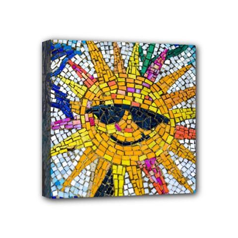 Sun From Mosaic Background Mini Canvas 4  X 4  by Nexatart