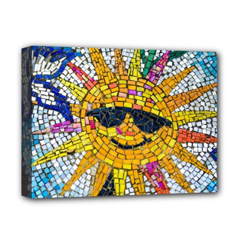 Sun From Mosaic Background Deluxe Canvas 16  X 12   by Nexatart