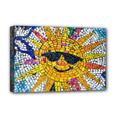 Sun From Mosaic Background Deluxe Canvas 18  X 12   by Nexatart