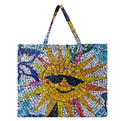 Sun From Mosaic Background Zipper Large Tote Bag by Nexatart