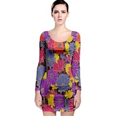 Colorful Floral Pattern Background Long Sleeve Bodycon Dress by Nexatart