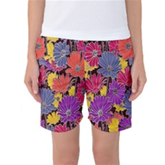 Colorful Floral Pattern Background Women s Basketball Shorts by Nexatart