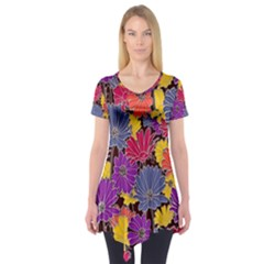 Colorful Floral Pattern Background Short Sleeve Tunic