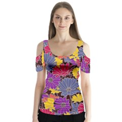 Colorful Floral Pattern Background Butterfly Sleeve Cutout Tee  by Nexatart