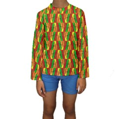 Colorful Wooden Background Pattern Kids  Long Sleeve Swimwear