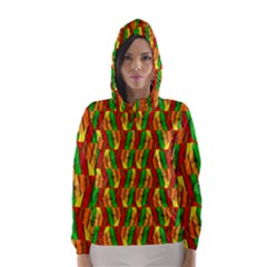 Colorful Wooden Background Pattern Hooded Wind Breaker (women)
