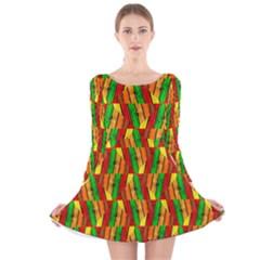 Colorful Wooden Background Pattern Long Sleeve Velvet Skater Dress