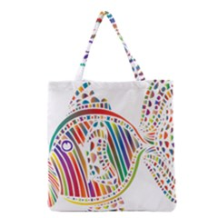 Colorful Fish Animals Rainbow Grocery Tote Bag by Mariart