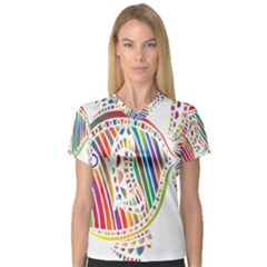 Colorful Fish Animals Rainbow Women s V Neck Sport Mesh Tee