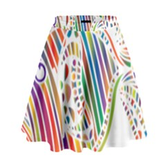 Colorful Fish Animals Rainbow High Waist Skirt by Mariart